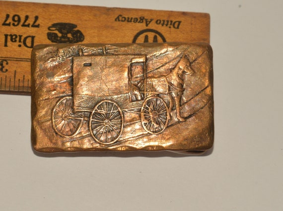Leesburg PA Hand Hammered Bronze Belt Buckle Natale Amish Cart and Horse folk Art Wendal August Forge