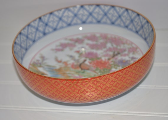 Vintage Arita Made in Japan Pheasant Bowl Colorful intricate patterns Large Cabinet Bowl 9x3 inches Asian  Porcelain