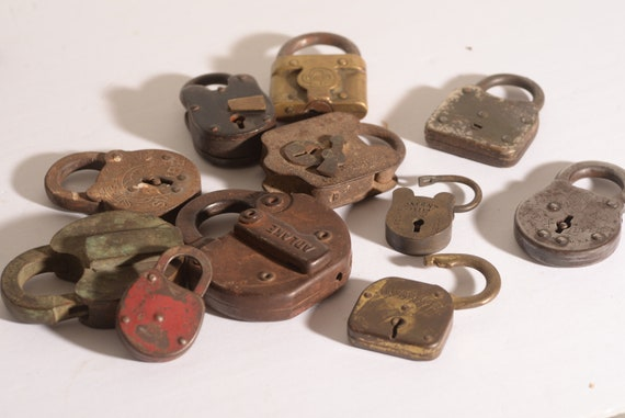 Antique Padlocks Lot of 11 Vintage Padlocks  Huge to small Great lot for display or collection salvage lot