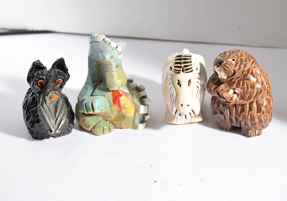 Rinconada Artesania Animals Lot of 4 Beaver , Big Horn, Dragon, Terrier Dog Vintage Uruguay handcrafted pottery animals Whimsical