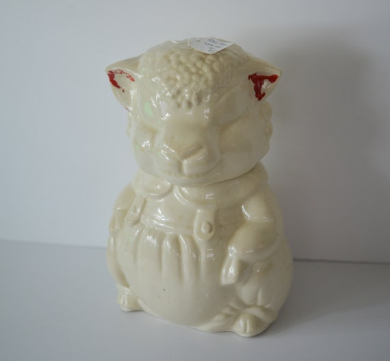 APCO Americna Pottery Lamb Cookie Jar 1940-50 American Bisque Ohio valley Pottery Farming , Country kitchen Sheep Lamb Chippy paint