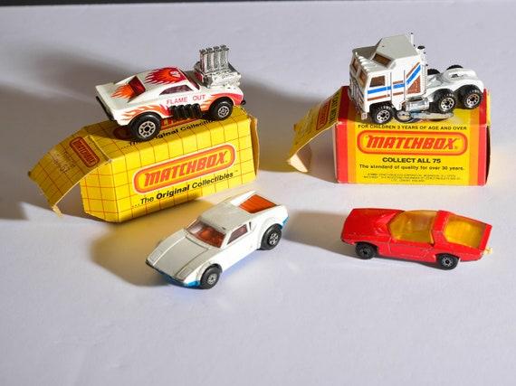 Lot of Lesney Matchbox Cars 2 With Box Kenwood Semi, Flame Out 67  Vauxhall No40 Pantera  Kenwood Semi Truck