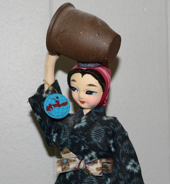 Shuri Handicraft Okinawan Doll Okinawa Japanese Cloth Kimono Doll With Basket on Head folk art Original Hang Tag
