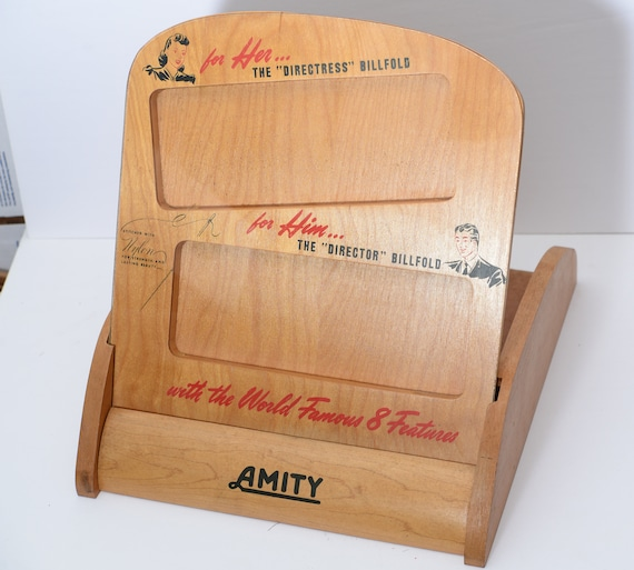Vintage Wood Amity Billfold General Store Wallet Display Vintage 1950s Advertising Piece