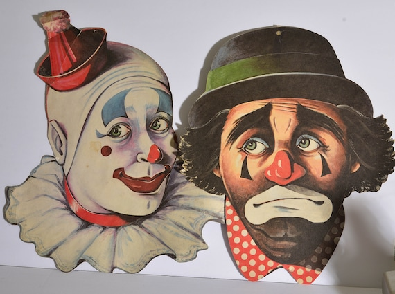 Vintage Circus Clowns Paper Signs Decorations Scary Clowns, Large Cardboard paper clowns -