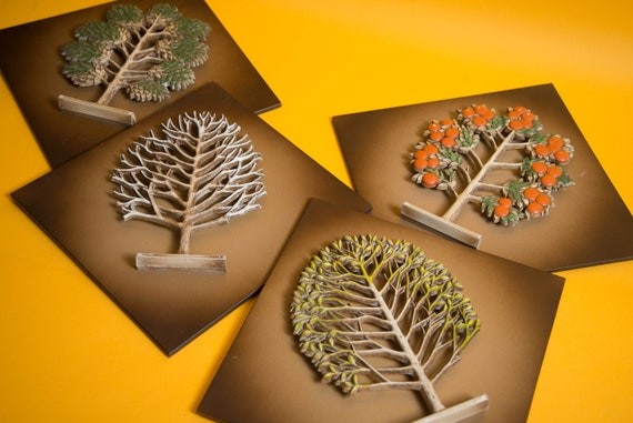 Set of 4 Mid Century 4 Seasons Syroco Wall Tiles Beautiful Three 3D Natural Decor 10 inch tiles for Mounting 1970s Syracuse NY