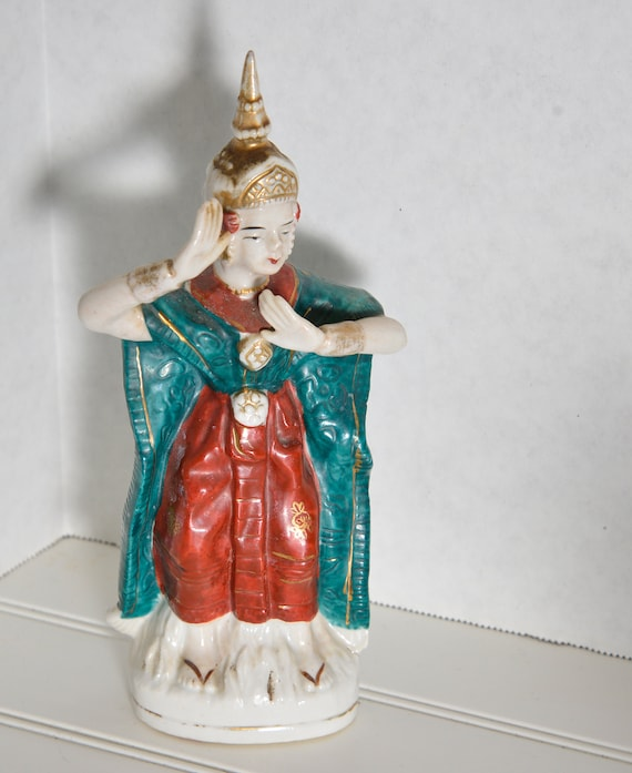 Siam Thai Dancer Porcelain Figurine Occupied Japan 1945-52 colorful Dancing Figure Vintage Bisque Shipping included