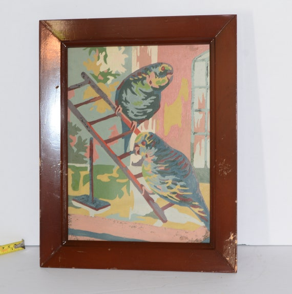 Vintage Paint By Number Parakeets Budgies 1950s or 60s Pink Green Framed Paint by Number