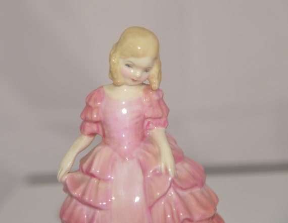 Royal Doulton Tiny Figurine 4 inch Rose HN 1368 Circa 1940s Pink Dress child figures Signed RE C1945 Adorable Toddler Figurine Free shipping