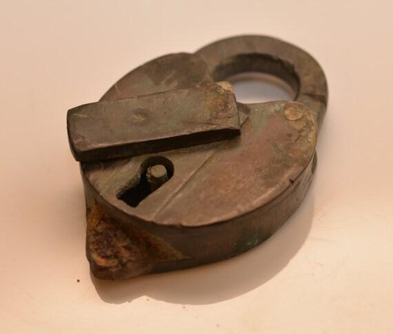 Antique  Railroad Switch Padlock Solid Brass 3 3/4 inch no key, great rusty treasure 1890-1900