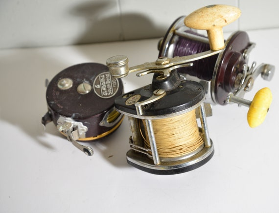3 Vintage fishing Reels Gladding Fly Fishing Penn Peer, True Temper 922C Used Vintage Fishing Decor Fishing Reels