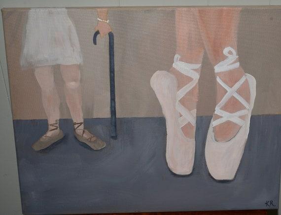 Young and Old Ballet Dancer Oil on Canvas Unframed local S.Carolina Estate Signed KR