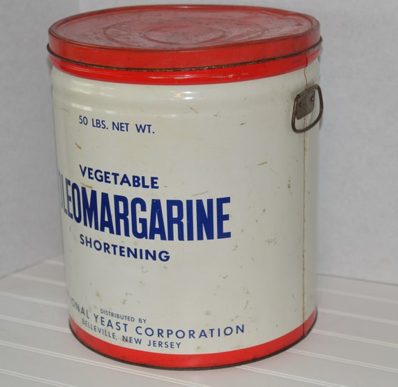 Huge Advertising Metal Can NAtional Yeast Belleville NJ Oleo Margarine Restaurant Decor Oil Can National OleoMargarine