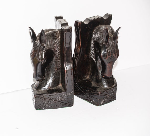 Carved Wood Horse Bookends Equestrian, Mid Century sleek Stylistic design Stylized Horse Heads Modern Abstract Horses Ironwood Very Heavy