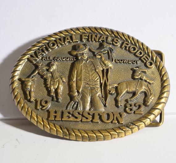 Hesston 1982 Rodeo Belt Buckle National Finals All Around Cowboy Western Cowboy Brass Buckle Vintage western wear