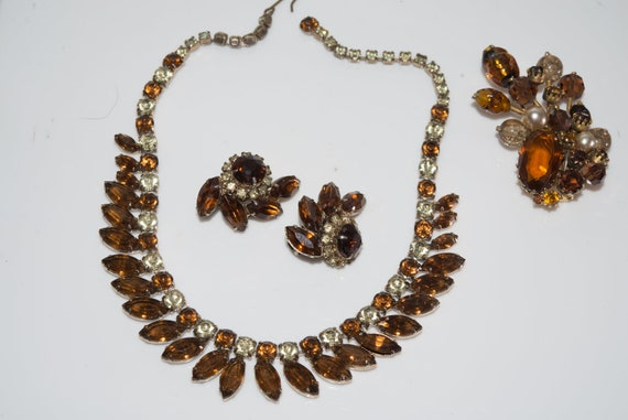 Necklace Brooch Earing set  Parure Topaz Amber Costume Jewelry Set Vintage Glass Beauty Pin, Necklace and Earrings