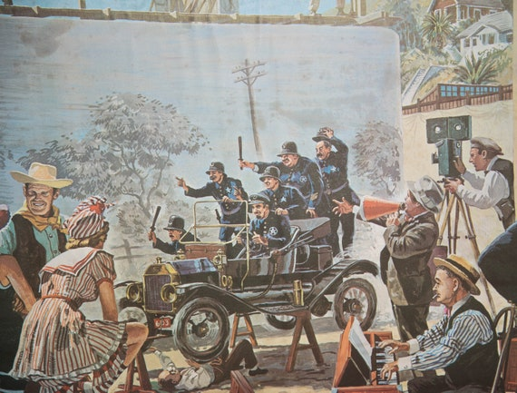 Saratoga SPA Summer Theater Harper Goff Disney Animator Prints Movie Lot Filming Drama Keystone Cops John Wayne 24x18 inches 1960s Artwork