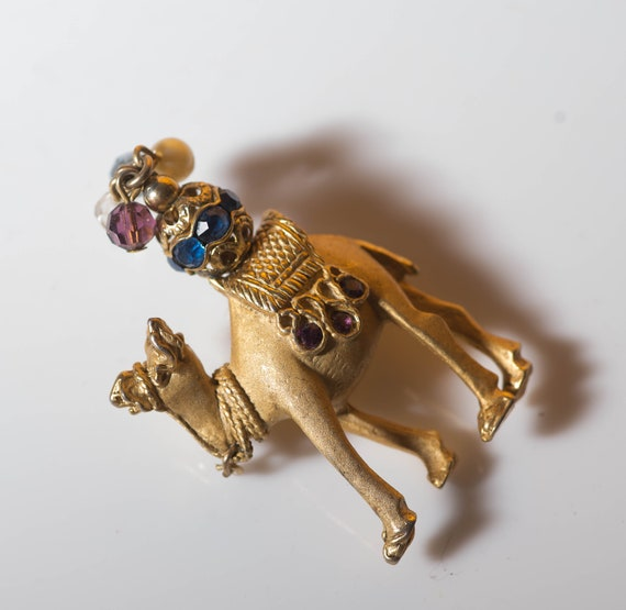 Vintage Exotic Napier Camel Brooch Pin Rhinestone Camel Figural Pin