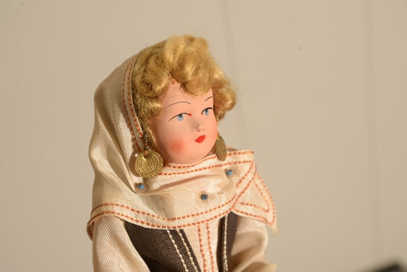 molded Cloth face  Cloth Doll Vintage Greece International Costume Doll, 1940s 50s, Traditional Dress Free Ship USA