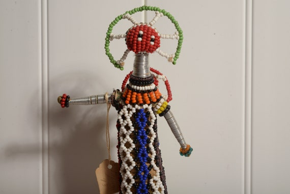 Cape Town Africa Ndebele People Beaded Doll Sculpture Mother with Child 10 inches Vintage African Doll