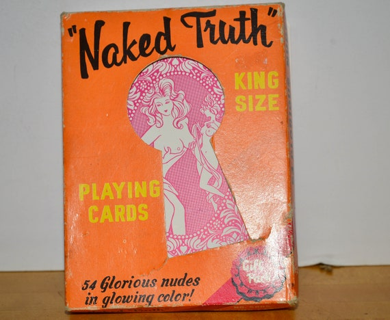 Oversized Vintage 1970-80s Adult Naked Truth Playing Cards Complete Deck of Bathing Beauties Mature Playing Cards Pin ups Complete Set
