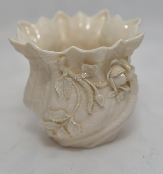 Belleek  Vase Applied Roses and Shamrock 4th Green Mark Lusterware with Glitter on Roses 1945-56 Unpainted