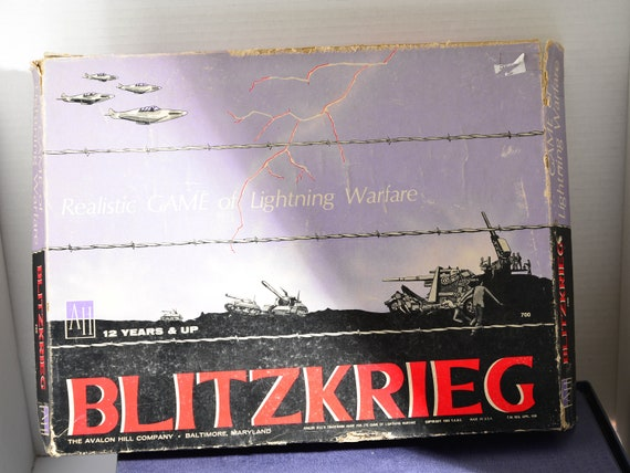 Partly Punched Avalon War Game 1965 Blitzkrieg Boxed Close to complete if not Complete Vintage Strategy game