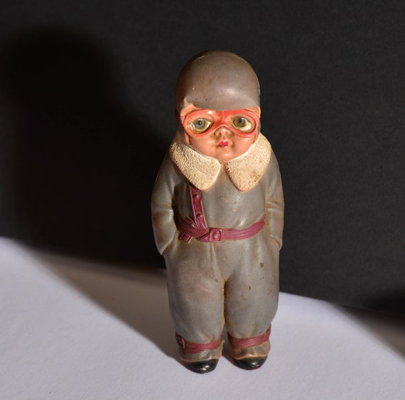 Big eyed Japan Celluloid Doll Aviator Very unusual fighter pilot Figurine Celluloid doll