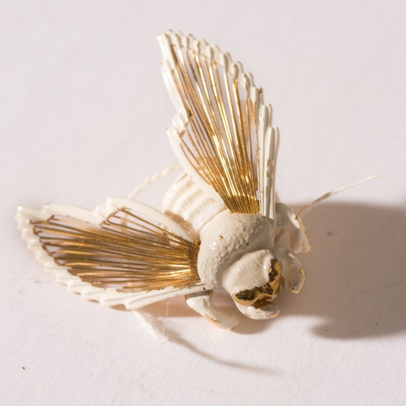 Monet White and Gold Bumblee Bug Insect Brooch Bee Pin Vintage 1960s Ships Free USA
