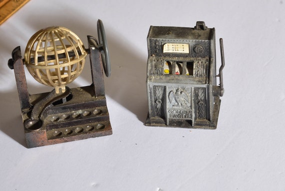 Two miniature Pencil sharpeners Vintage collectibles Bingo Ball and Slot Machine