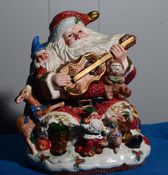 Vintage Santa Cookie Jar Fitz and Floyd 1996 Santa and Woodland Animals omnibus Christmas Cookie Jar