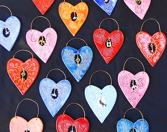 Hearts of Hope, Ceramic Wall hearts, Brides Maids gifts, Valentine's, Window to my heart, housewarming gifts, ready to ship
