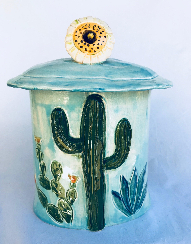 Saguaro-Kaktus-Kanister Keramik Behälter Südwesten Keramik