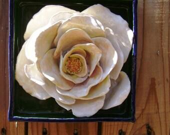 White Rose, flower art, 3-d art, contemporary folk art, garden art, Ceramic Wall Hanging, Handmade,bloom,