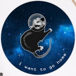 "Possum in Space Sticker 3"" x 3"" - Introvert Anxiety Outer Space Opossom"