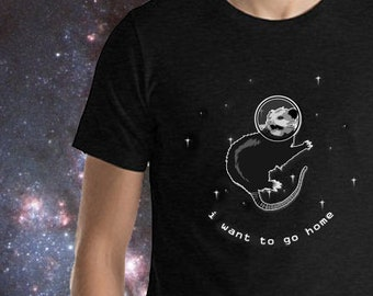 I Want to Go Home Possum in Space Short-Sleeve Unisex T-Shirt (Sizes S - 4XL)