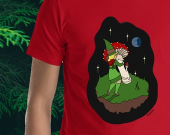 Cute Elf T-Shirt - Elf Gathering Shrooms by Moonlight