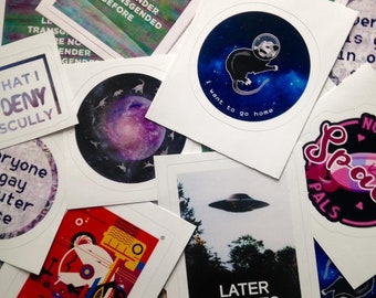 """Queer Sci-Fi Stickers (3"""" x 3"""") Queer Trans Nonbinary Sci-Fi Outer Space Gay Stickers"""