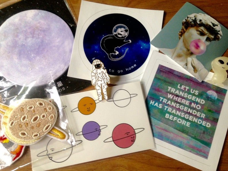 Outer Space Grab Bag  Stickers Patches Art Zines and More image 0