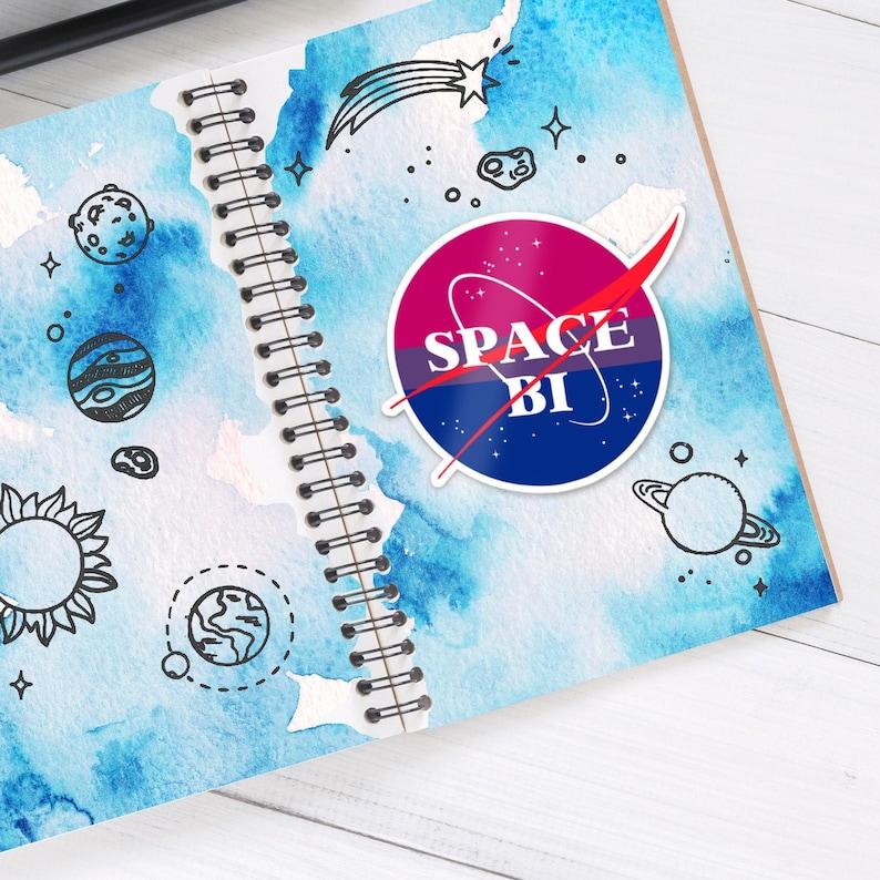Space Bi sticker 3 x 2.5  Bisexual Queer Pride image 0