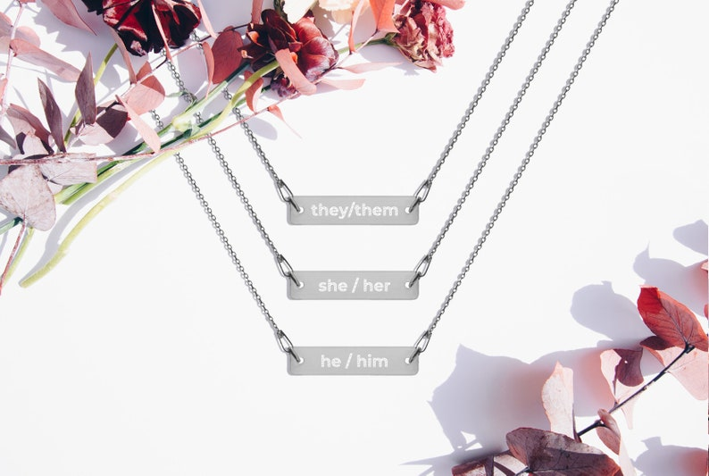 CUSTOM Pronouns Engraved Silver Bar Chain Necklace  Trans image 0
