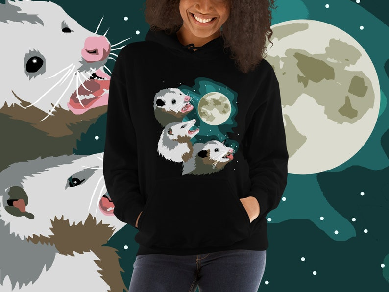 Three Possum Moon Hoodie  Opossum Opossum Three Wolf Moon image 0
