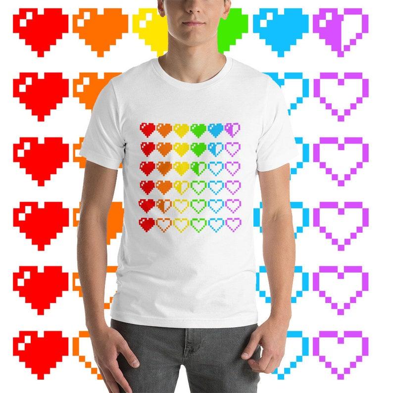 b5a67ba266d777 Rainbow HP Hearts T-Shirt Queer Gamer Spoonie Nerdy Pixel