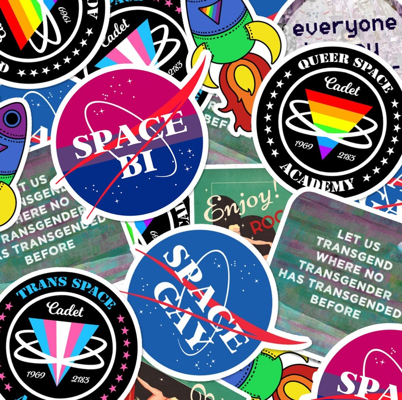 Queer Sci-Fi Stickers 3 x 3 Queer Trans image 0