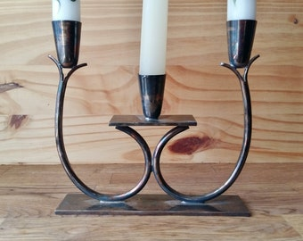 Copper Candelabra Candle Holder / Three Taper Candle Holder / Vintage Patina / Minimalist Decor / Gothic Table Decor /