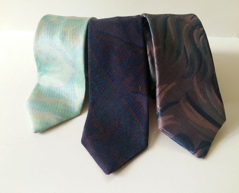 3 Vintage Designer BIAGIOTTI  Pastel Jewel Tone Skinny Neckties  Fantastic Vintage Condition  50s 80s PARTY mix BAG Neckties