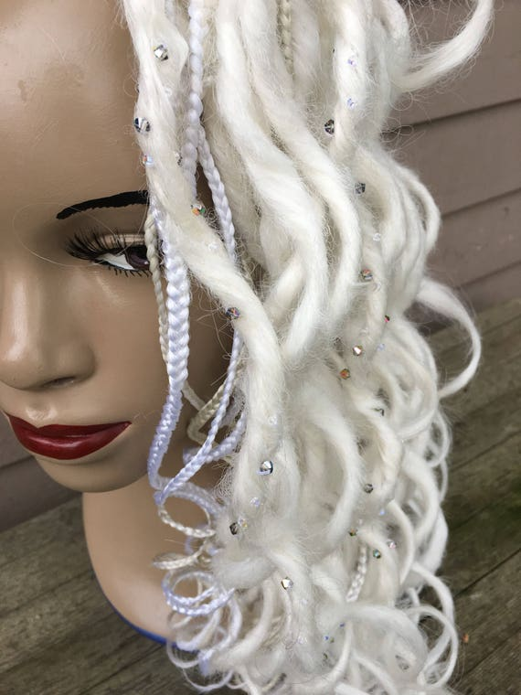 Mojito synth dreads ct 25 hair extensions DE or pinch braid attach muddled mint champagne fizzy lemon pastel green and yellow