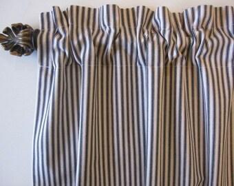 Ticking Stripe Curtains, Set of 2 BLACK Cotton Ticking Stripe Curtain Panels 50 x 63, 72, 84, 96, 108