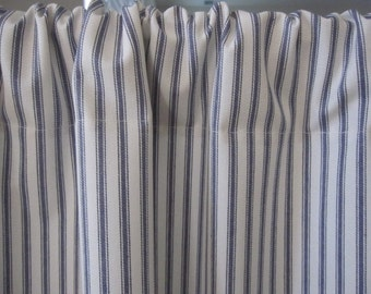 Ticking Stripe Curtain, BLUE Ticking Cabinet Curtain or Sink Curtain 50 x 34