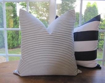 Ticking Stripe Pillow Cover, BLUE Ticking Pillow Cover 18 x 18, 20 x 20, 22 x 22, 24 x 24